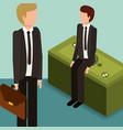 businessmen with briefcase and pile banknotes vector image