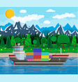 cargo ship containers cityscape port logistics vector image