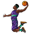 cartoon basketball player is moving dribble with a vector image vector image