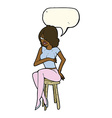 cartoon woman sitting on bar stool with speech vector image vector image