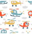 childish seamless pattern with cute helicopter vector image vector image
