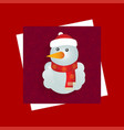 chrismtas card with red background and snowman vector image vector image