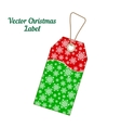 Christmas label with red green background from vector image