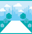 cityscape buildings park trees path vector image
