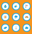 climate icons flat style set with sunny drip vector image vector image