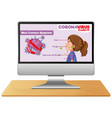 computer with covid19 information on screen vector image