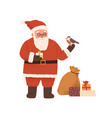 cute bearded santa claus holding giftbox and vector image vector image