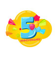 cute cartoon template 5 years anniversary vector image vector image