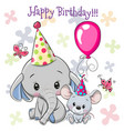 cute elephant and mouse with balloon and bonnets vector image