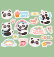 cute panda stickers happy pandas patches cool vector image vector image