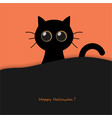 cute round eyes halloween black cat vector image vector image
