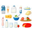 dairy milk food product assortment in pack set vector image
