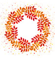 elegant floral wreath with orange and red leaves vector image vector image
