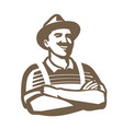 farmer with hat symbol agriculture farming farm vector image vector image