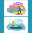 fisherman fishing from motorboat and from bank vector image vector image