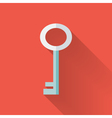 Flat key icon over red vector image vector image