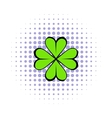 Four leaf clover icon comics style vector image vector image