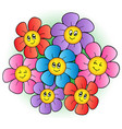 group of cartoon flowers vector image