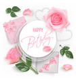 happy birthday card with red roses vector image vector image