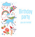 happy birthday holiday card with stars fireworks vector image vector image