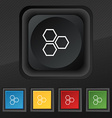 Honeycomb icon symbol Set of five colorful stylish vector image