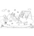 kids at the playground coloring vector image