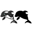 killer whale characters and its silhouette on vector image vector image