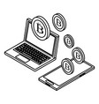 laptop and cellphone with cryptocurrency black and vector image vector image