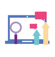 laptop computer arrows magnifying glass speech vector image