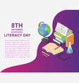 literacy day book banner concept isometric style vector image vector image