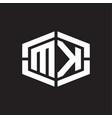 mk logo monogram with hexagon shape and piece vector image vector image