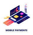 mobile payments online shopping and banking vector image vector image