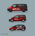 mocup set with advertisement on black car cargo vector image vector image
