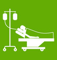 patient in bed on a drip icon green vector image vector image