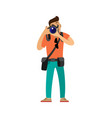 photographer with digital camera taking photo vector image vector image