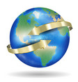 real world earth planet with golden arrow vector image