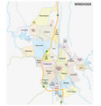 roads and administrative map windhoek namibia vector image vector image
