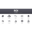 roi simple concept icons set contains such icons vector image vector image