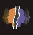 schizophrenia depression male head silhouettes vector image vector image