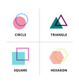 set logo geometric overlapping isolated on vector image