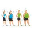 Set of cartoon characters with slim physique and vector image