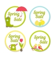 Set of four circular Spring Sale labels vector image vector image