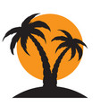silhouette palm trees on island vector image vector image