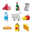supermarket flat icons vector image vector image