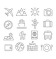 travel and tourism line icons vector image vector image