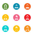 unauthorized person icons set flat style vector image