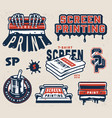 vintage screen printing elements collection vector image