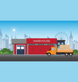 warehouse building with semi-trailer truck vector image vector image