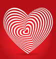 white heart on red background Optical of 3D vector image vector image