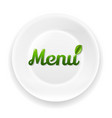 white plate with menu text vector image